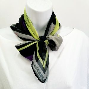 Diesel scarf black lime green purple